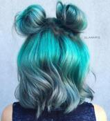 38 Teal Hair Color And Messy Buns For Short Hair 1