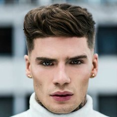 Hairstyles For Triangular Faces Low Fade Thick Textured Quiff