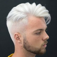 Long Comb Over High Fade White Hair