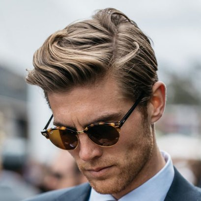 Medium Length Comb Over Tapered Sides