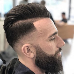 Side Part Pompadour Razor Fade Line Up