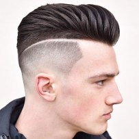 Textured Modern Pompadour High Bald Fade Part
