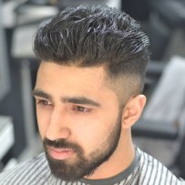 Thick Brushed Up Hair High Taper Fade Full Beard