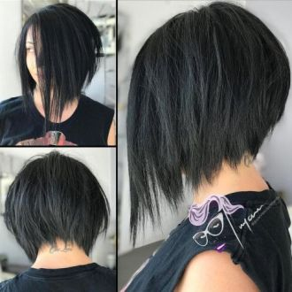 3 Inverted Black Bob With Choppy Ends