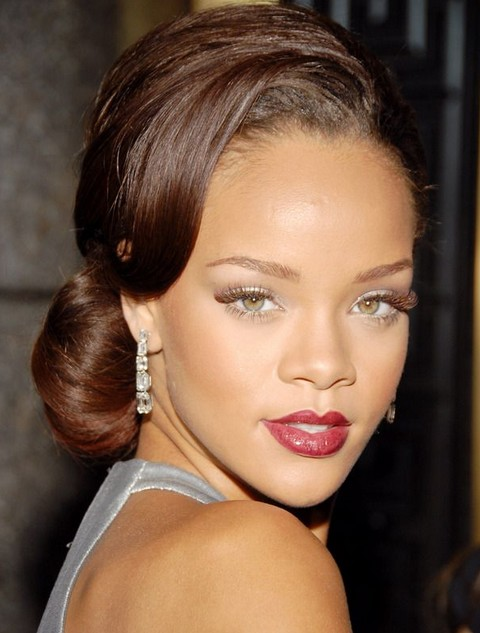 Rihanna Hairstyles Graceful Chignon