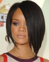 Rihanna Hairstyles Super Sleek Asymmetric Black Bob