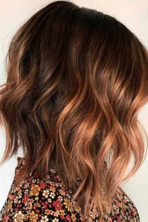 Light Brown Hair Styles Medium Length Wavy Copper Balayage