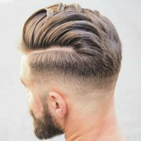 Low Fade With Hard Part Comb Over