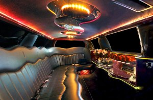Interior of the Lincoln 10 passenger limo