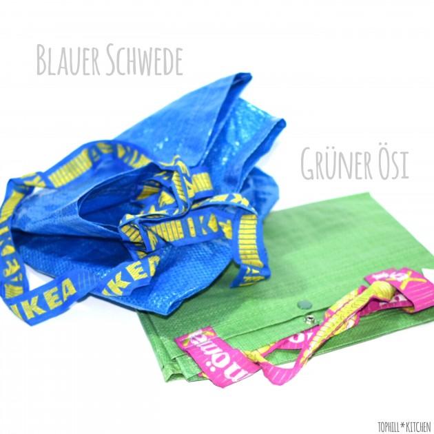 blaue Ikea-Tasche und grüne Mömax-Tasche