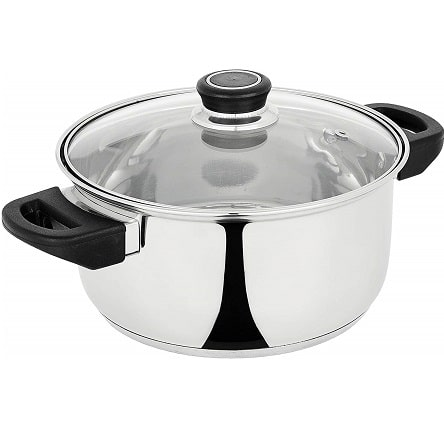 Stainless Steel Induction Bottom Dutch Oven with Glass Lid (20cm)