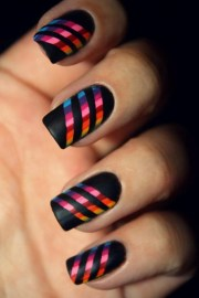 stupendously striped nail design