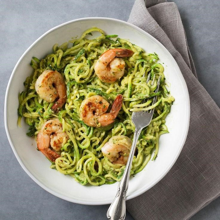 1. Zucchini Noodles with Avocado Pesto & Shrimp | Top 10 Healthy and Delicious Zucchini Noodles Recipes