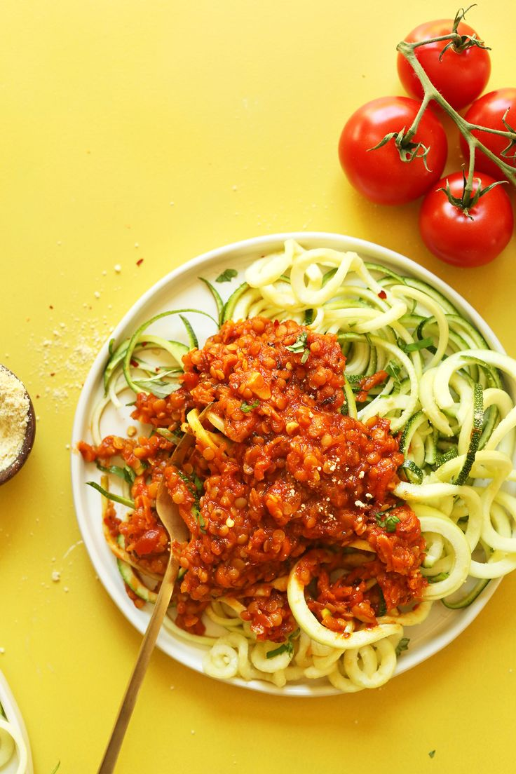 4. Zucchini Pasta with Lentil Bolognese | Top 10 Healthy and Delicious Zucchini Noodles Recipes
