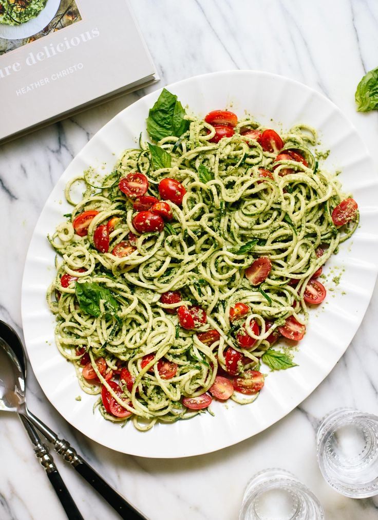 3. Zucchini Noodles with Basil Pesto and Cherry Tomatoes | Top 10 Healthy and Delicious Zucchini Noodles Recipes