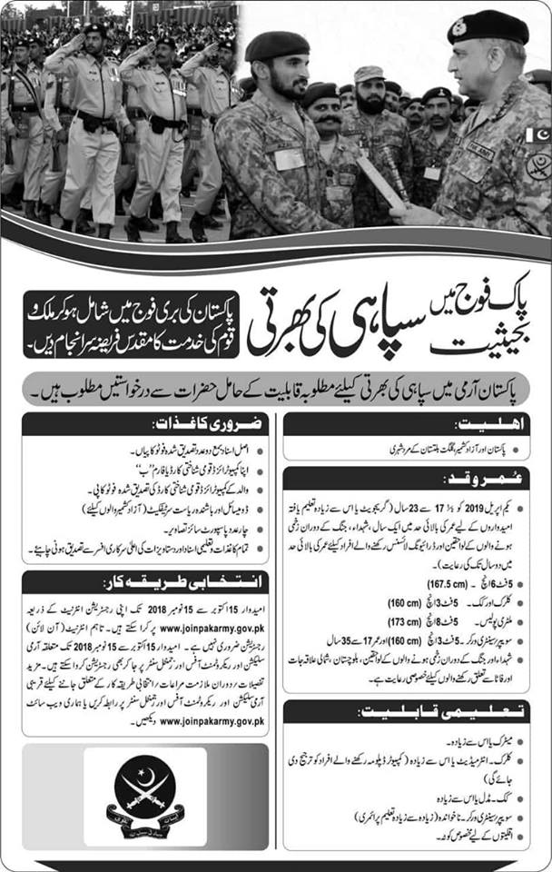 pak army join as soldier