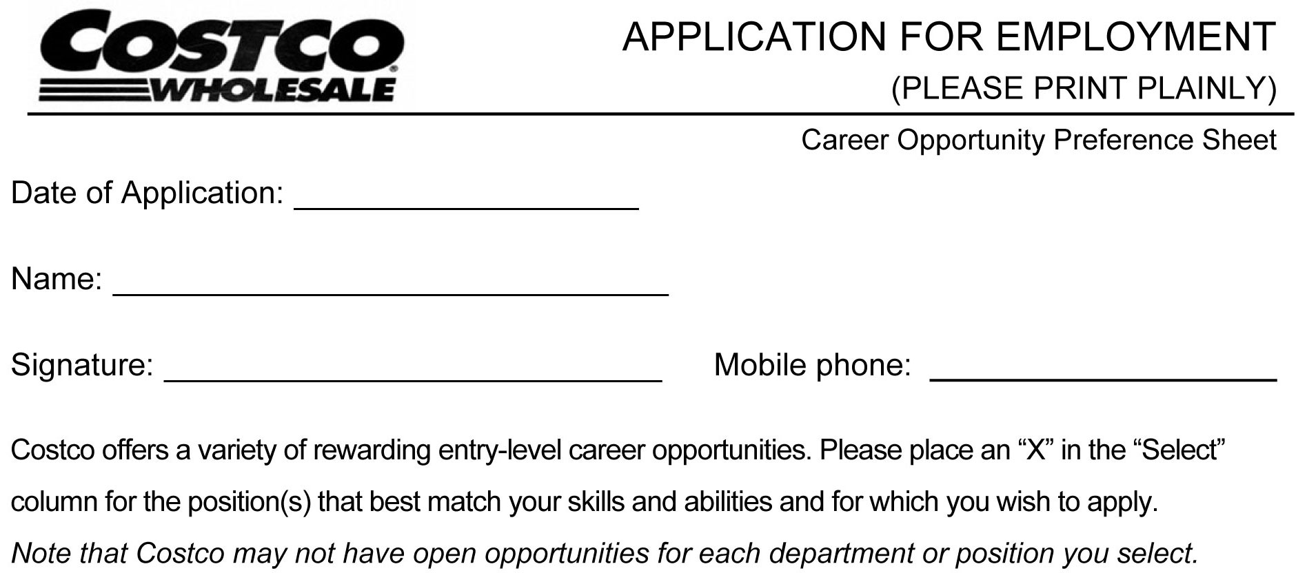 Costco Job Application Printable Job Employment Forms