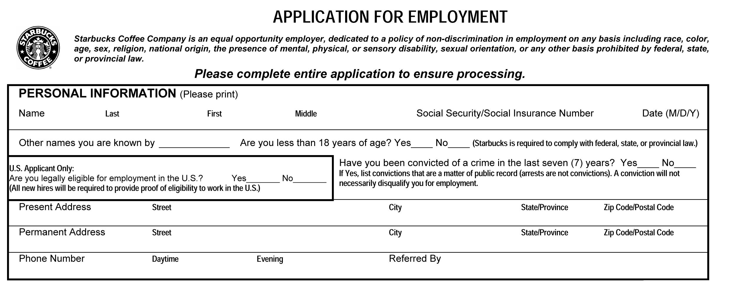 Starbucks Job Application Form Online Apply For Jobs At