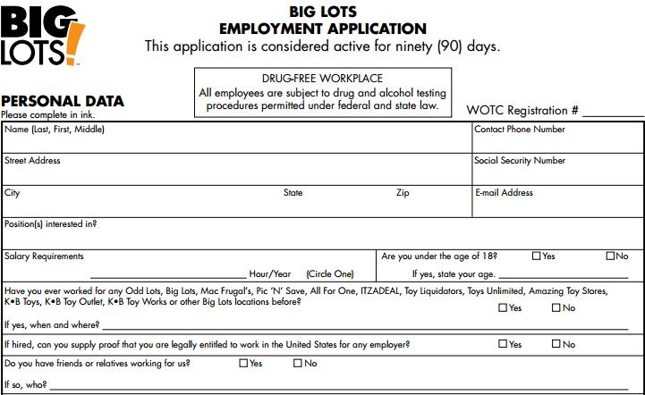 Big Lots Job Application Printable Job Employment Forms