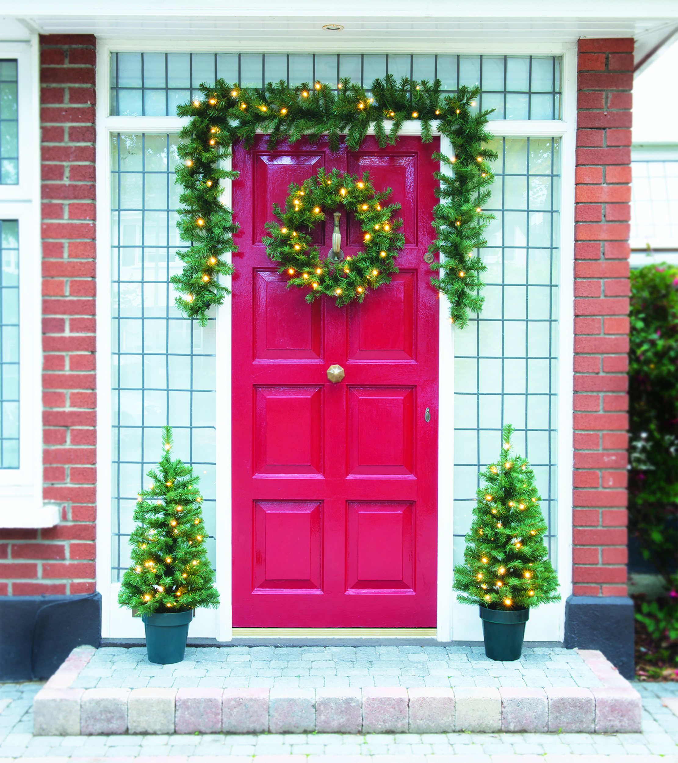 Festive Pre Lit Christmas Door Decoration Set 4 Piece Christmas Decorations Topline Ie