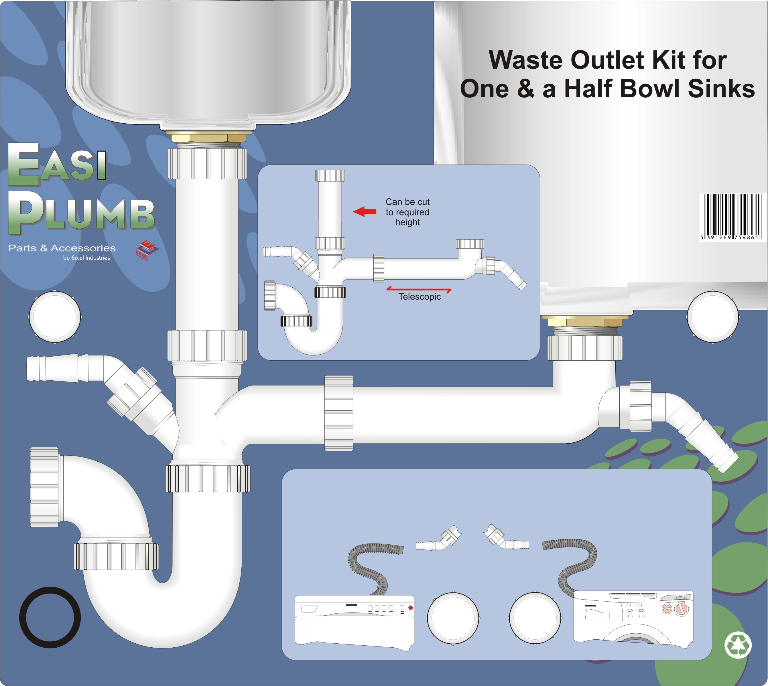 easi plumb waste outlet kit for one and a half bowl sink 1 5in [ 2682 x 2397 Pixel ]