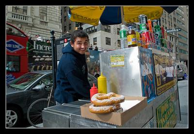 Hotdog street vendor in New York City