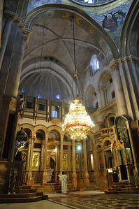 A service is in session at the Church of the Holy Sepulchre