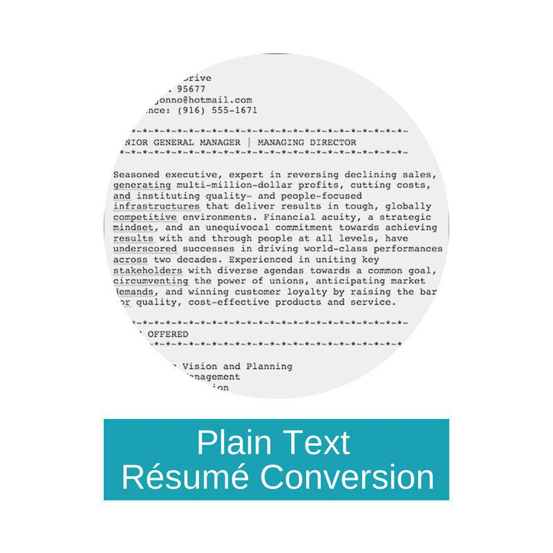 TextOnly Rsum  Top Margin Executive Resume Writer and Personal Brand Coach Melbourne Australia