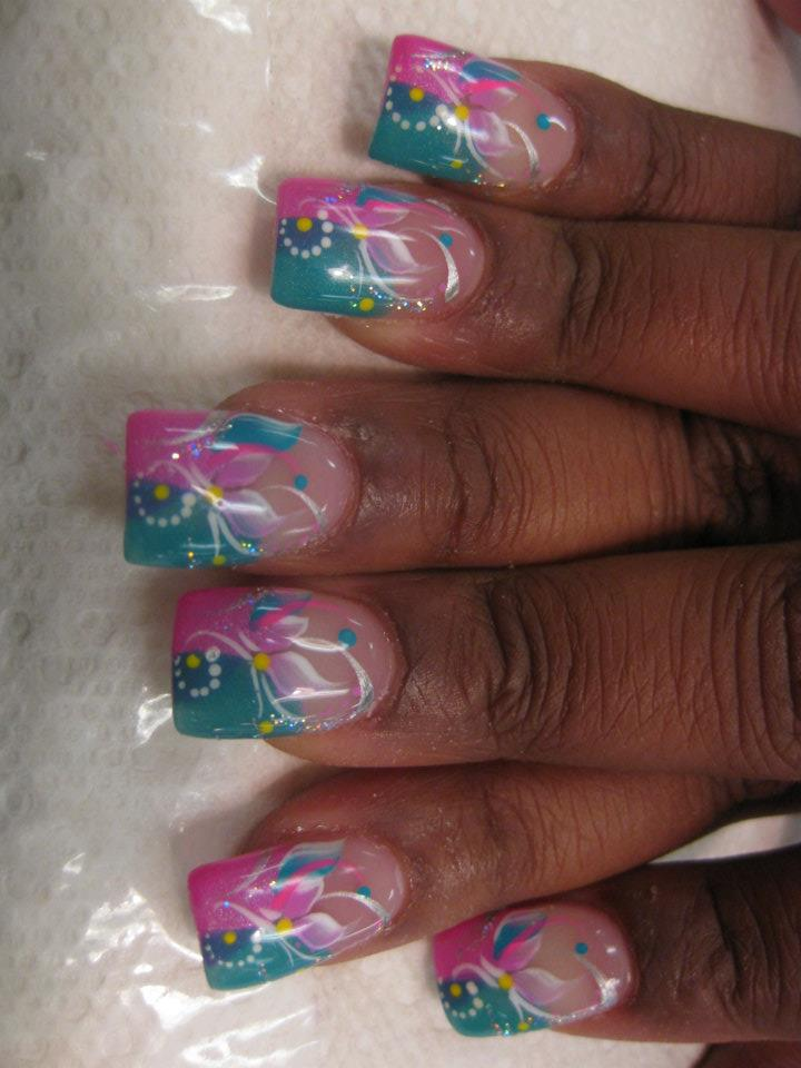 Wispy Lily, nail art designs by Top Nails, Clarksville TN. | Top Nails