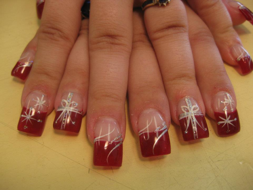 Christmas Wrapping, nail art designs by Top Nails, Clarksville TN ...