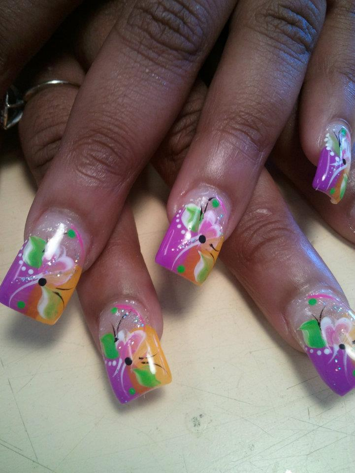 Easter dips nail art designs by top nails clarksville tn top creamsicle orangebubblegum pink halfhalf tip with bright greenpink petals prinsesfo Choice Image
