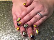 Full black nail w/yellow/white swishes/diamond glue-on OR Black tip under sparkly/yellow/gold, OR Angled yellow tip under black/sparkly wave, topped w/ sparkly/yellow/gold.