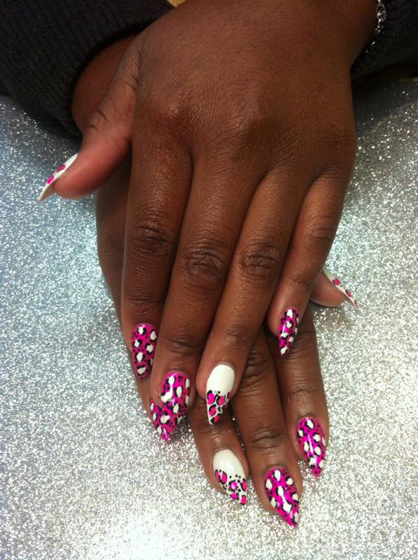 Pointed Bright Pink full nail w/white/black leopard spots or Brilliant White full nail w/bright pink/black leopard spots.