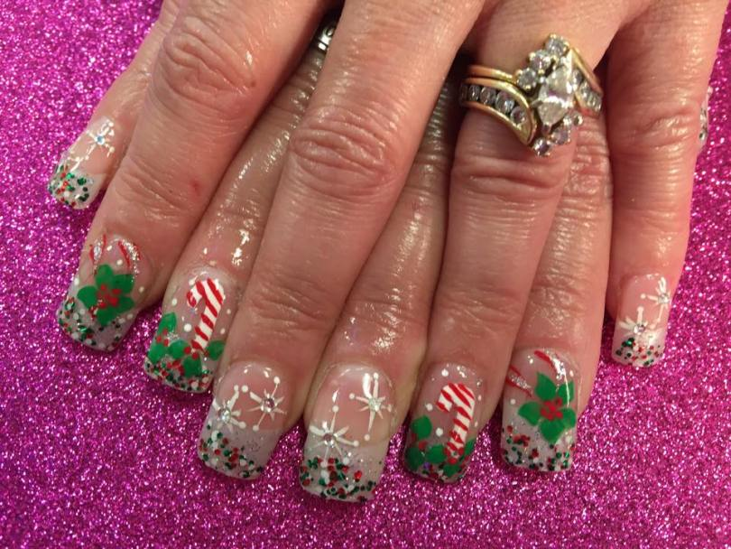 Sparkly translucent tip, white/green/red dots, with candy cane/holly bush OR Bethlehem stars/diamond glue-on centers OR large holly bush, red/silver sparkly swirls.