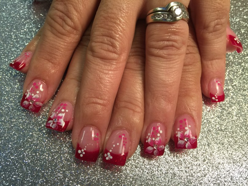 Sparkly Christmas red tip, pink/white stargazer, diamond glue-on, pink/white dots, sparkles.