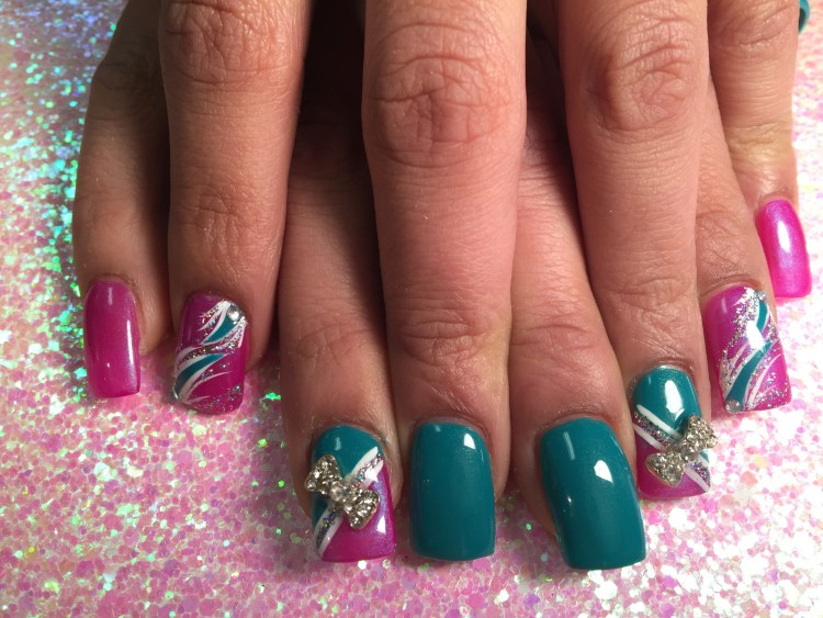 Choice: Sparkly bright pink/turquoise full nail OR Full bright pink nail w/white/turquoise/sparkly swirls, diamond glue-on OR angled bright pink tip under angled white/sparkly band, topped by turquoise band and angled sparkly/diamond bowtie glue-on.