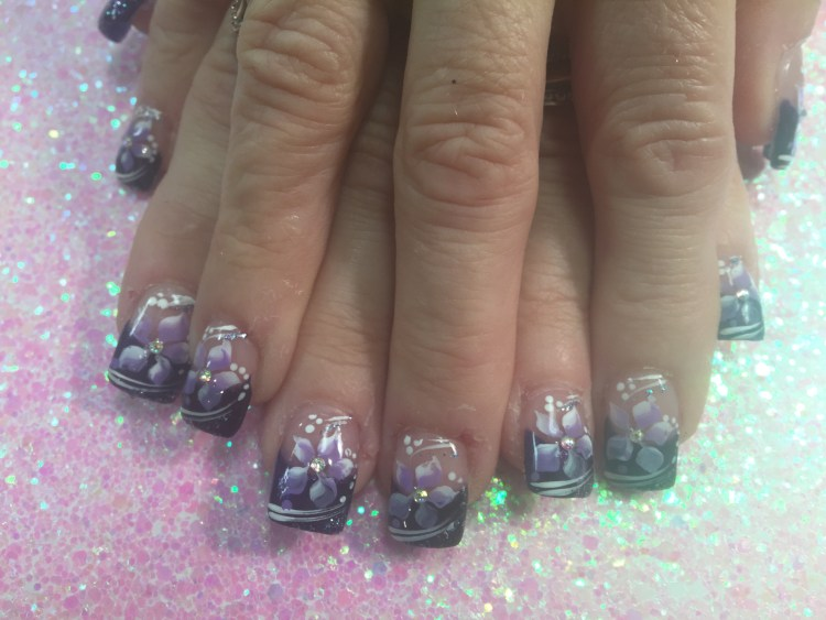 Sparkly dark purple tip with lavender/white stargazer lily, shite/sparkly swirls, white/lavender dots.