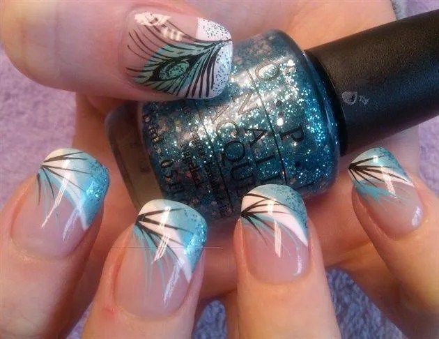 Angled ocean blue/white band tip with sparkles on blue, beach palm fronds of black and blue.