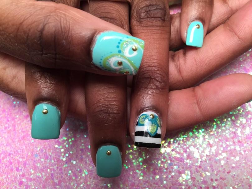 Choice: Shiny Light Turquoise nail w/diamond glue-on, OR w/green/white/sparkly swirls, blue dots, diamond glue-ons, OR, thick black/white horizontal strips, blue/green/sparkly stargazer lily, diamond glue-on.