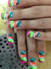 multi-colored tiger nail art design
