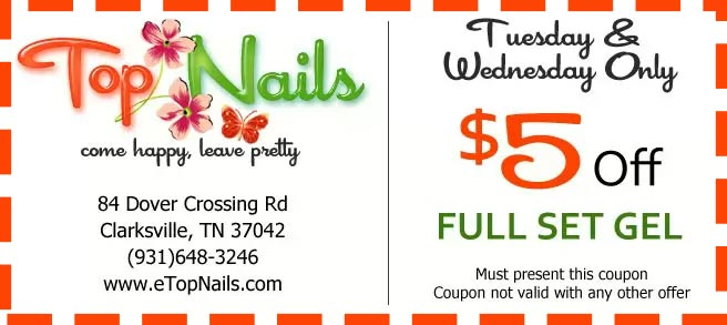 Tuesday & Wednesday only, get $5 off when you do full set gel.