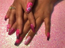 Valentine nails, changing color gel polish with rose nail art