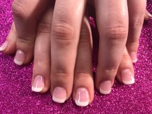 Pretty new set pink & white using dip powder on natural nails