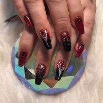 Dark red ombre coffin set