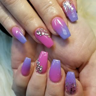 Beautiful SNS ombre nails, unicorn colors & some blings