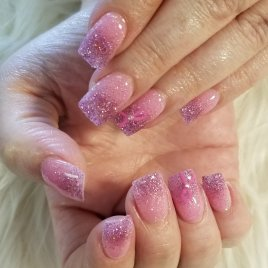 Pretty pink & purple ombre SNS nails with ribbon art