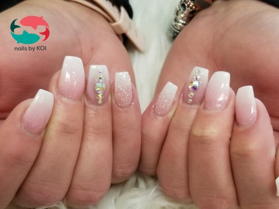 Pink and white ombre plus blings