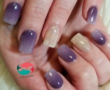 Purple ombre nails with gold glitter accent nails