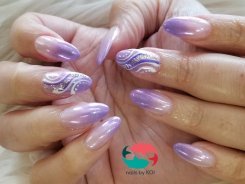 SNS dip powder ombre, chrome mirror effect and custom nail art designs.