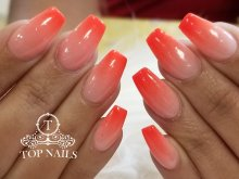 SNS dip powder ombre nails, color S36 & Neon 5
